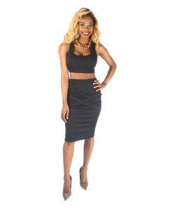 Crop Top Twin Set Black